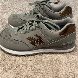 New Balance 574 Grey with Copper Accents